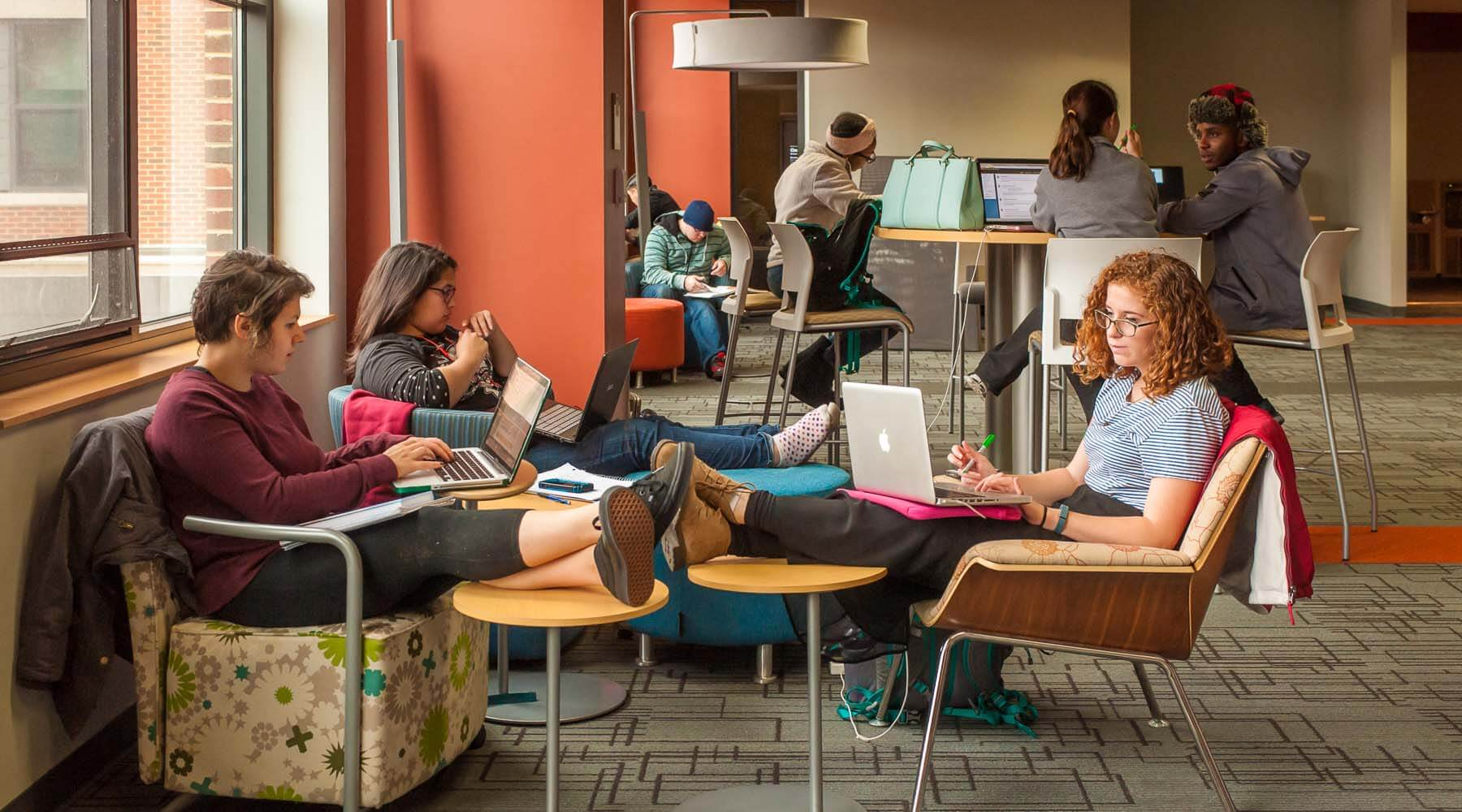 Students studying inside the Academic Learning Center