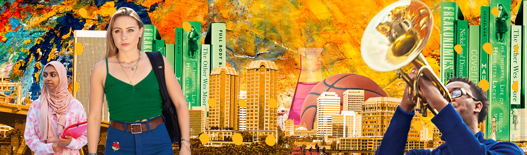collage of Richmond city skyline mixed with books, students and swirls of color