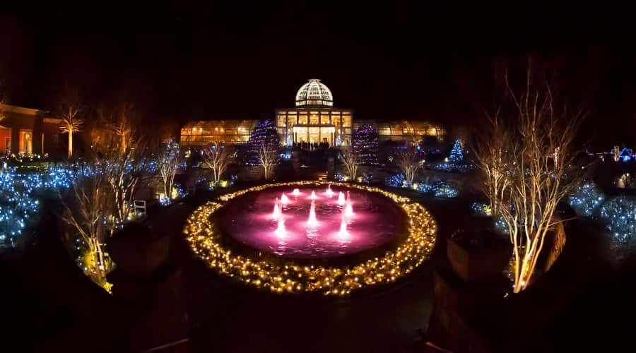 Holiday lights at Lewis Ginter Botanical Garden