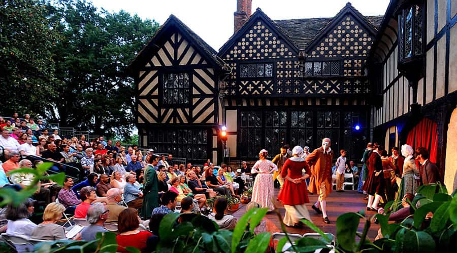 A Shakespeare play being performed outside