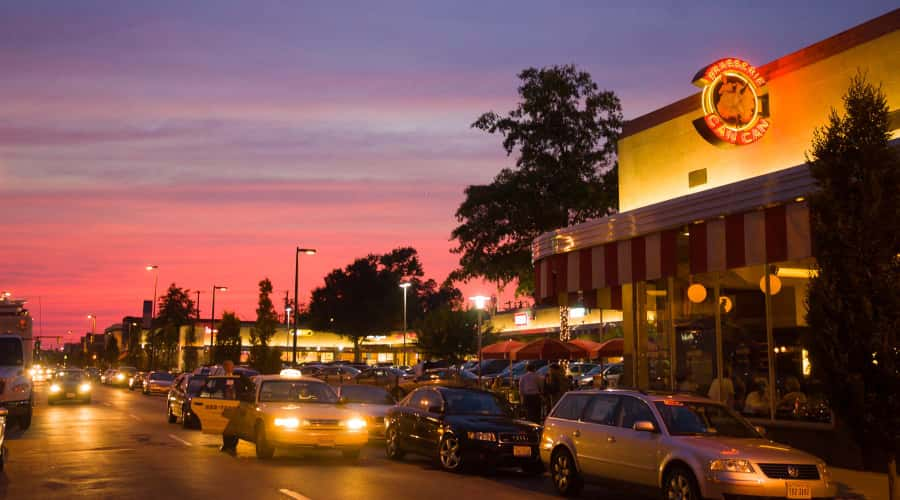 Carytown restaurants and shops at dusk