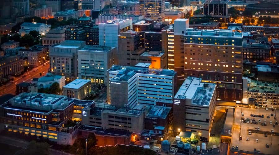 VCU MCV Campus skyline at night