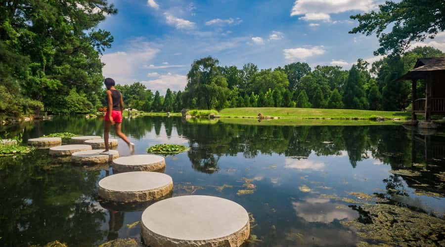 Woman walking over stepping stones in pond