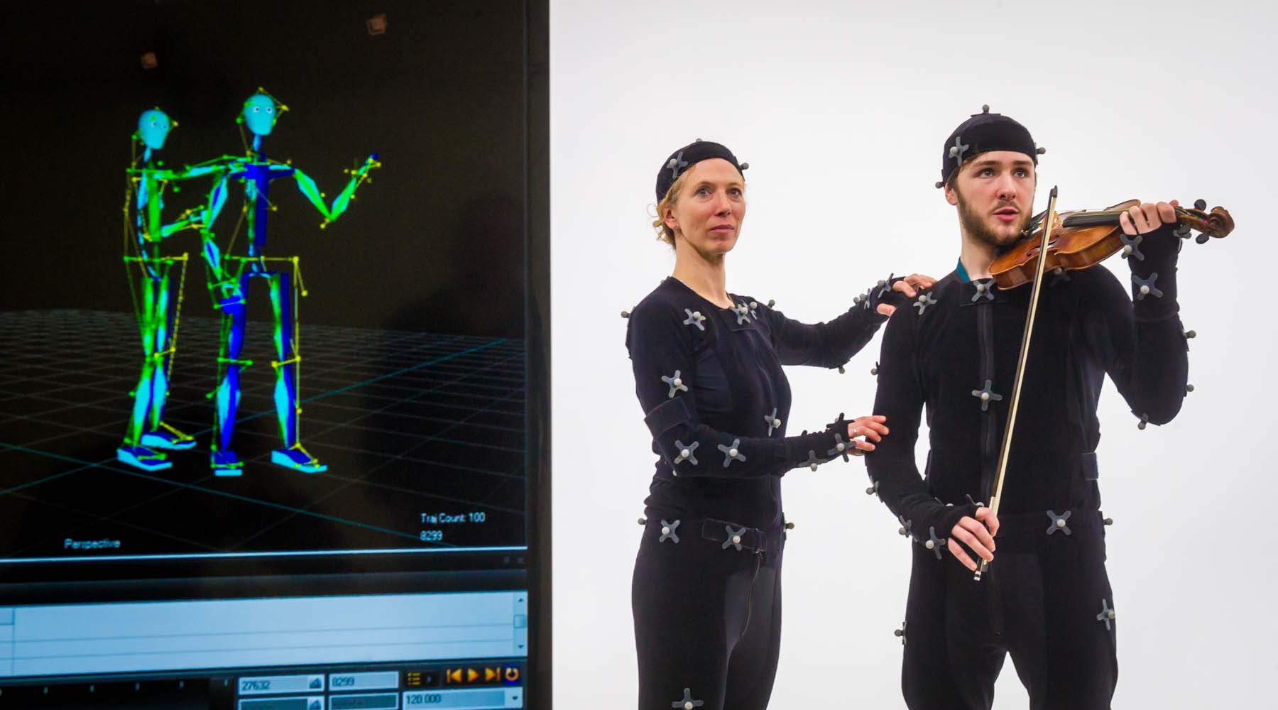 Violin student in Motion Capture Lab